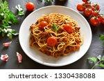 tasty pasta  spaghetti with... | Shutterstock . vector #1330438088