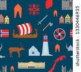 cartoon norwegian travel and... | Shutterstock .eps vector #1330446935