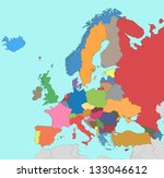 colorful map of europe | Shutterstock .eps vector #133046612