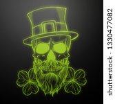 line art  handdrawn angry skull ... | Shutterstock .eps vector #1330477082