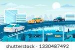 modern city highway traffic... | Shutterstock .eps vector #1330487492