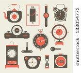vector clock icons set   Shutterstock .eps vector #133054772