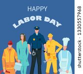 labor day poster with people of ... | Shutterstock .eps vector #1330557968