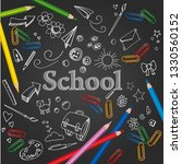 school prints with pencils on... | Shutterstock .eps vector #1330560152