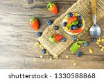 bowl of homemade granola with... | Shutterstock . vector #1330588868