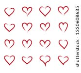 heart hand drawn icons set... | Shutterstock .eps vector #1330608635