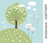 Spring Scene Illustration With...