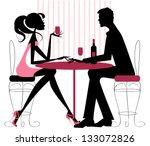 couple sharing romantic dinner... | Shutterstock .eps vector #133072826