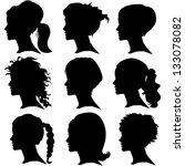 vector set of woman silhouette... | Shutterstock .eps vector #133078082