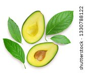 avocado with leaves isolated on ... | Shutterstock . vector #1330788122