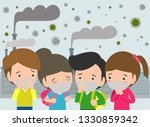 kids in masks because of fine... | Shutterstock .eps vector #1330859342