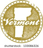 Vintage Vermont USA State Stamp - stock vector
