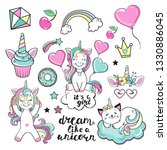 unicorn collection on a white... | Shutterstock .eps vector #1330886045
