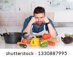 kitchen problem and worried man ... | Shutterstock . vector #1330887995