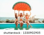 three girls relaxing and having ... | Shutterstock . vector #1330902905