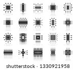 microchip silhouette icons set. ... | Shutterstock .eps vector #1330921958