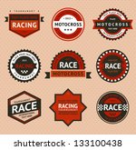 racing badges  vintage style.... | Shutterstock .eps vector #133100438