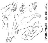 various gestures of human hands ... | Shutterstock .eps vector #1331018312