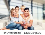 beautiful smiling family... | Shutterstock . vector #1331034602
