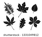 Black Fall Leaves Silhouettes....