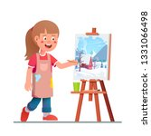 smiling artist girl kid... | Shutterstock .eps vector #1331066498