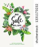 tropical hawaiian sale poster... | Shutterstock .eps vector #1331173232