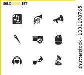 melody icons set with klaxon ...