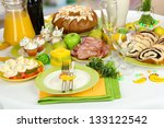 Serving Easter Table With Tast...