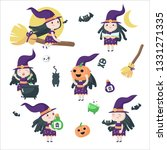 cute little witches riding... | Shutterstock .eps vector #1331271335