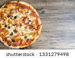 homemade vienna sausage pizza ... | Shutterstock . vector #1331279498