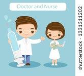 cute doctor and nurse cartoon... | Shutterstock .eps vector #1331311202