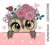 cute cartoon owl with flowerson ... | Shutterstock .eps vector #1331312348