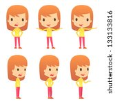 set of funny cartoon girl | Shutterstock .eps vector #133133816