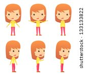 set of funny cartoon girl | Shutterstock .eps vector #133133822