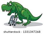 old dinosaur leaning on walker... | Shutterstock .eps vector #1331347268