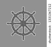 Ship Wheel Sign. Vector. Black...