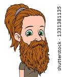 cartoon brunette long haired... | Shutterstock .eps vector #1331381135