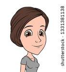 cartoon brunette funny smiling... | Shutterstock .eps vector #1331381138