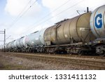 freight train with tank wagons  ... | Shutterstock . vector #1331411132