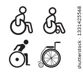 disabled wheelchair icon set | Shutterstock .eps vector #1331425568