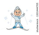 cute little boy skiing   Shutterstock .eps vector #1331444705