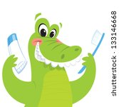 happy green crocodile is...   Shutterstock .eps vector #133146668
