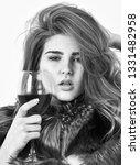girl fashion makeup wear fur...   Shutterstock . vector #1331482958