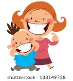 happy mom and son smiling...   Shutterstock .eps vector #133149728