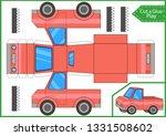 cut and glue a paper mini truck.... | Shutterstock .eps vector #1331508602