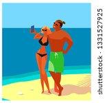 love couple on the beach.... | Shutterstock .eps vector #1331527925
