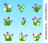 camomiles and tulip in green... | Shutterstock .eps vector #1331538122