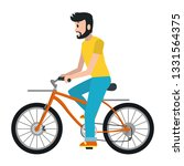 man riding bicycle cartoon | Shutterstock .eps vector #1331564375