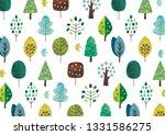 scandinavian tree pattern green   Shutterstock . vector #1331586275
