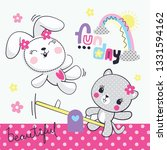 Stock vector cute rabbit and cat cartoon having fun on seesaw at the playground vector illustration 1331594162